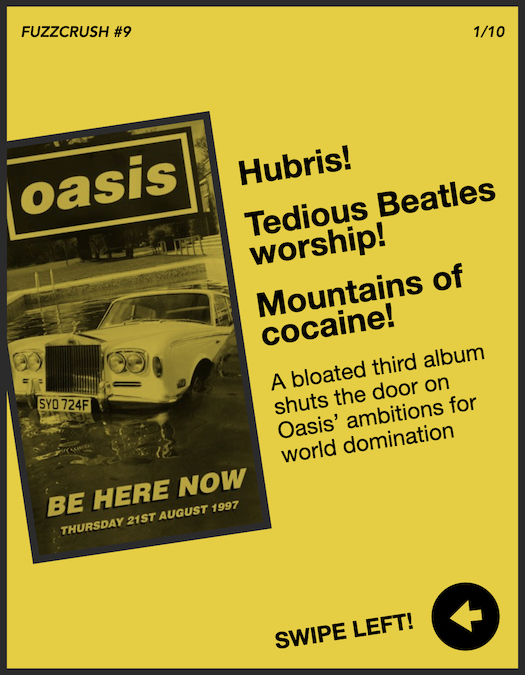 Oasis - Be Here Now zine cover